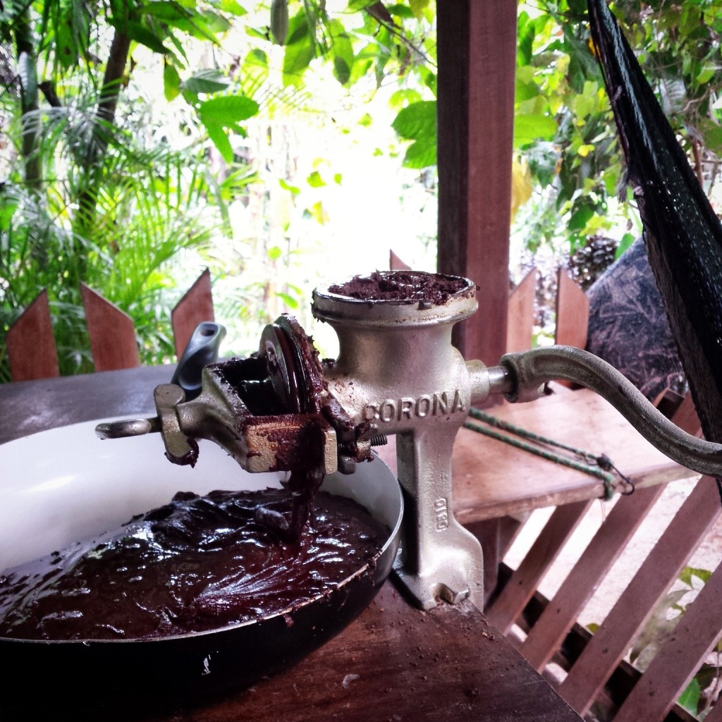 Grinding cacao