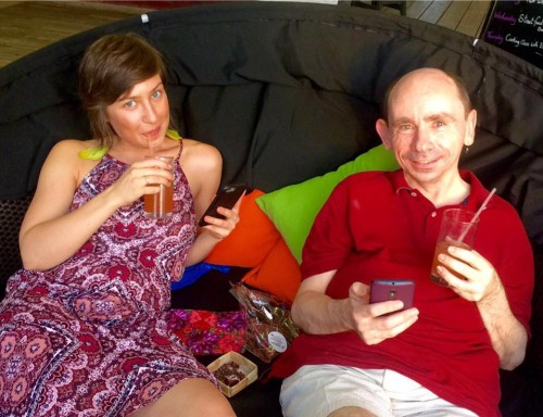 Dom and Myself working hard just after our arrival in Grenada