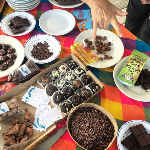 Chocolate tasting with products made by attendees of the festival