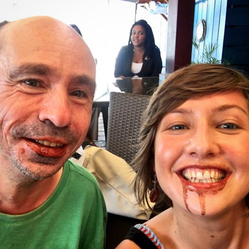 Dom and myself testing out the cacao lip balm!