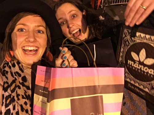 Myself ad Mireille happy with our purchases!